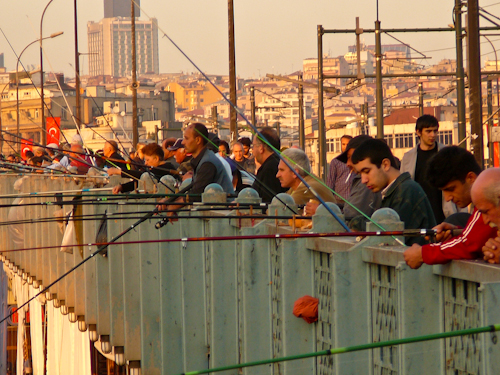 Fishing Off the Galata Bridge, ,Istanbul, Turkey