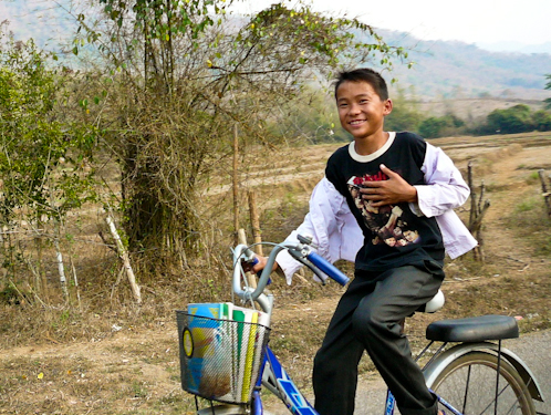 Riding Home From School, Near Luang Prabang